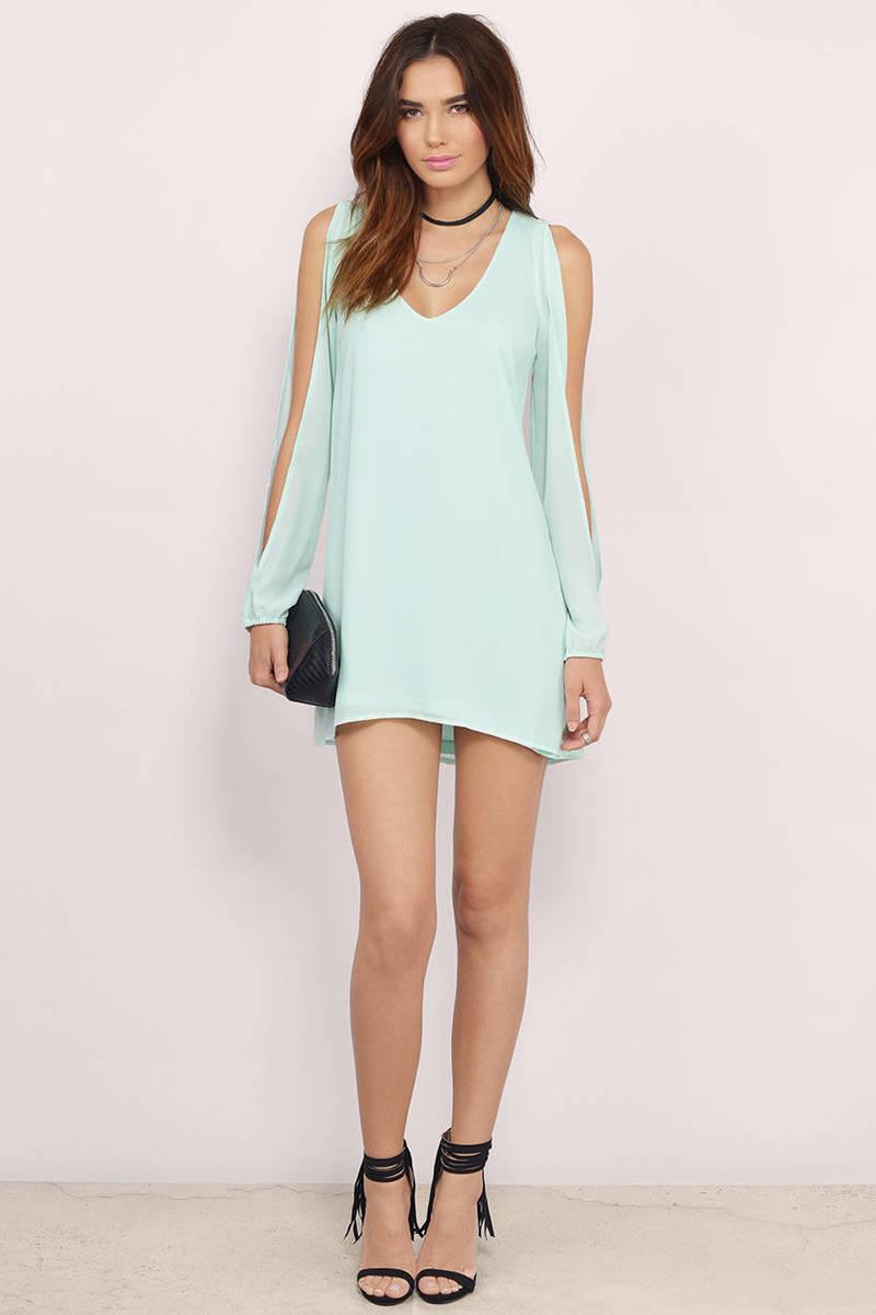 Oatmeal Shift Dress - Beige Dress - Slit Sleeve Dress - $18.00