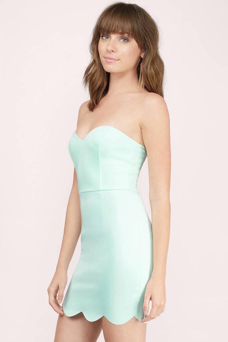 Mint Bodycon Dress - Scallop Dress - Sweetheart Strapless Dress - $8