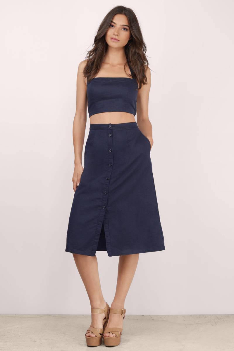 Trendy Navy Skirt - Blue Skirt - High Waisted Skirt - $16.00