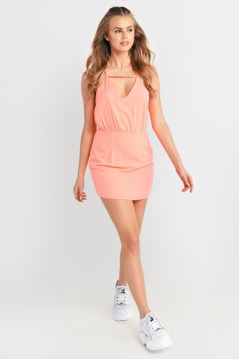 Neon Coral Dress - Cut Out Dress - Coral Short Dress - Bodycon ...