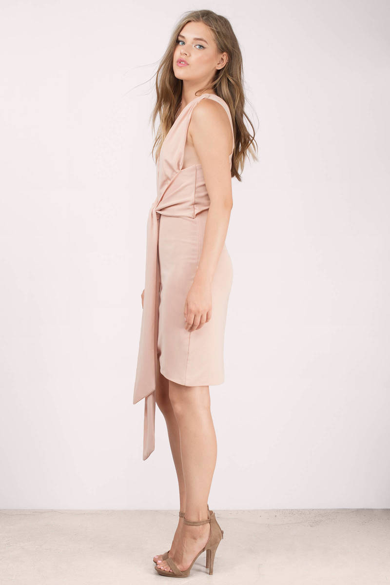 Sexy Nude Wrap Dress - Nude Dress - Front Tie Dress - 19800-4738