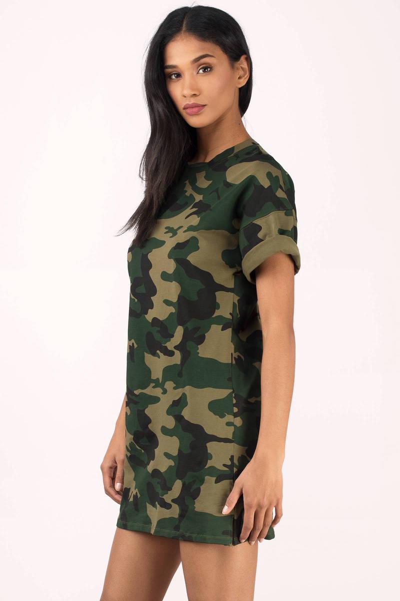 Olive dress camo dress green dress army print dress for Green camo shirt outfit