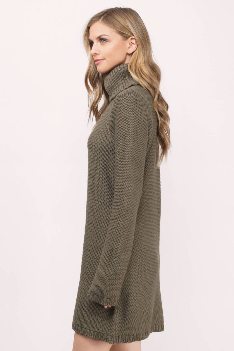 Cute Grey Dress - Turtleneck Dress - Army Grey Sweater - Day Dress ...