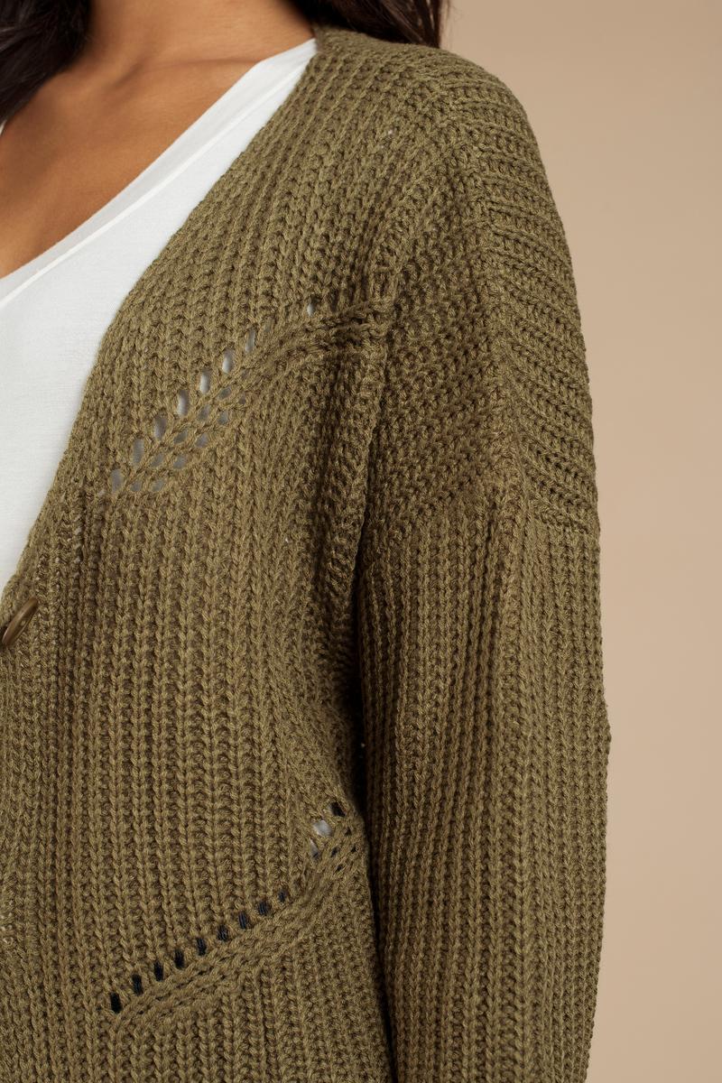Trendy Olive Cardigan - Knitted Cardigan - Olive Cardigan - $18 ...