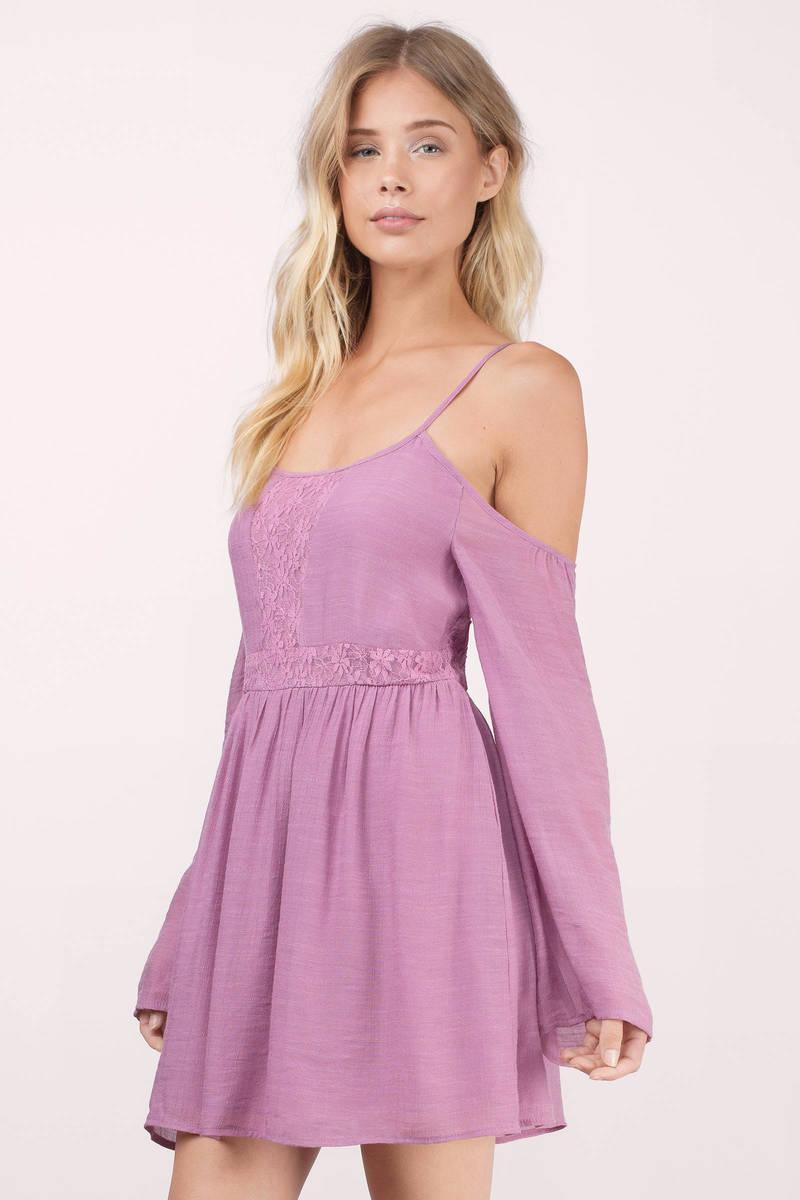 Cute Orchid Dress - Cold Shoulder Dress - Purple Swing ...