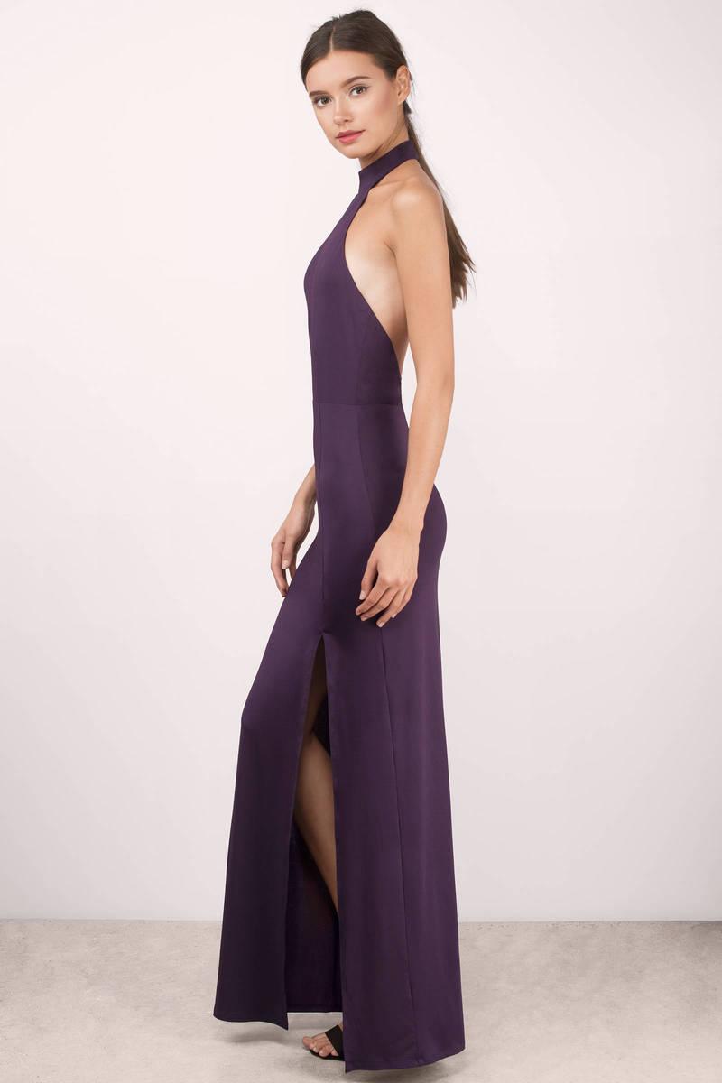 Plum Maxi Dress - Backless Dress - Mock Neck Dress - Full Dress ...