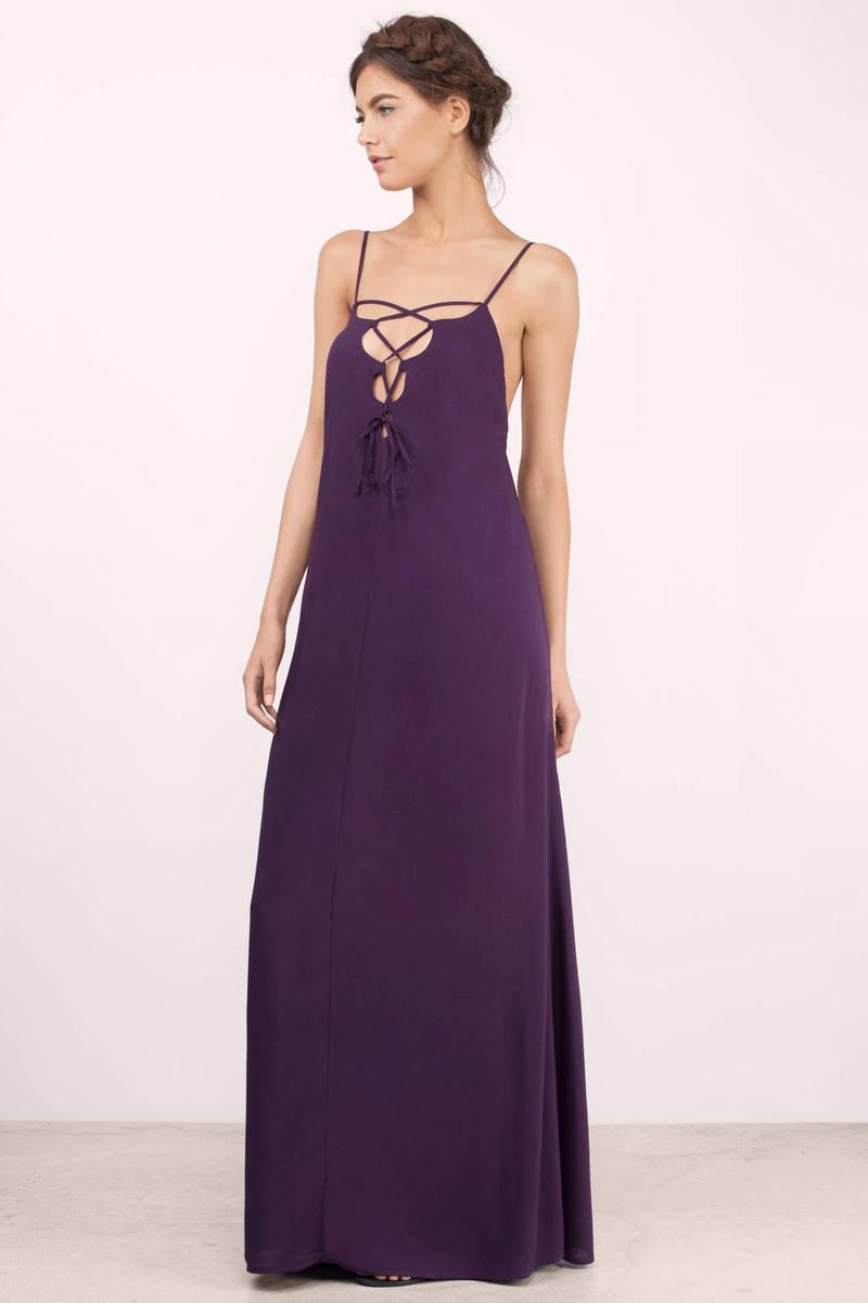 Boho Maxi Dress - Lace Up Dress - Black Dress - Chic Maxi Dress ...