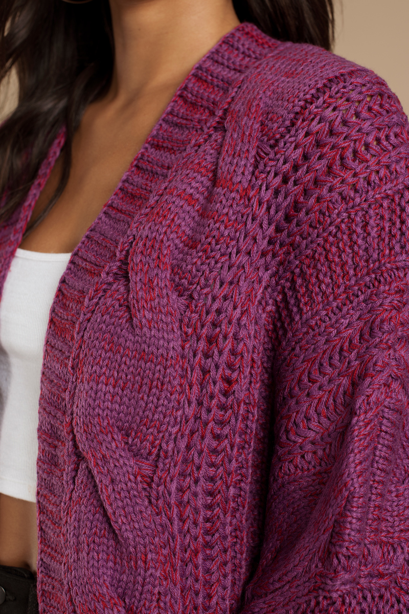Purple & Red Cardigan - Knitted Cardigan - Magenta Tops - $15 ...