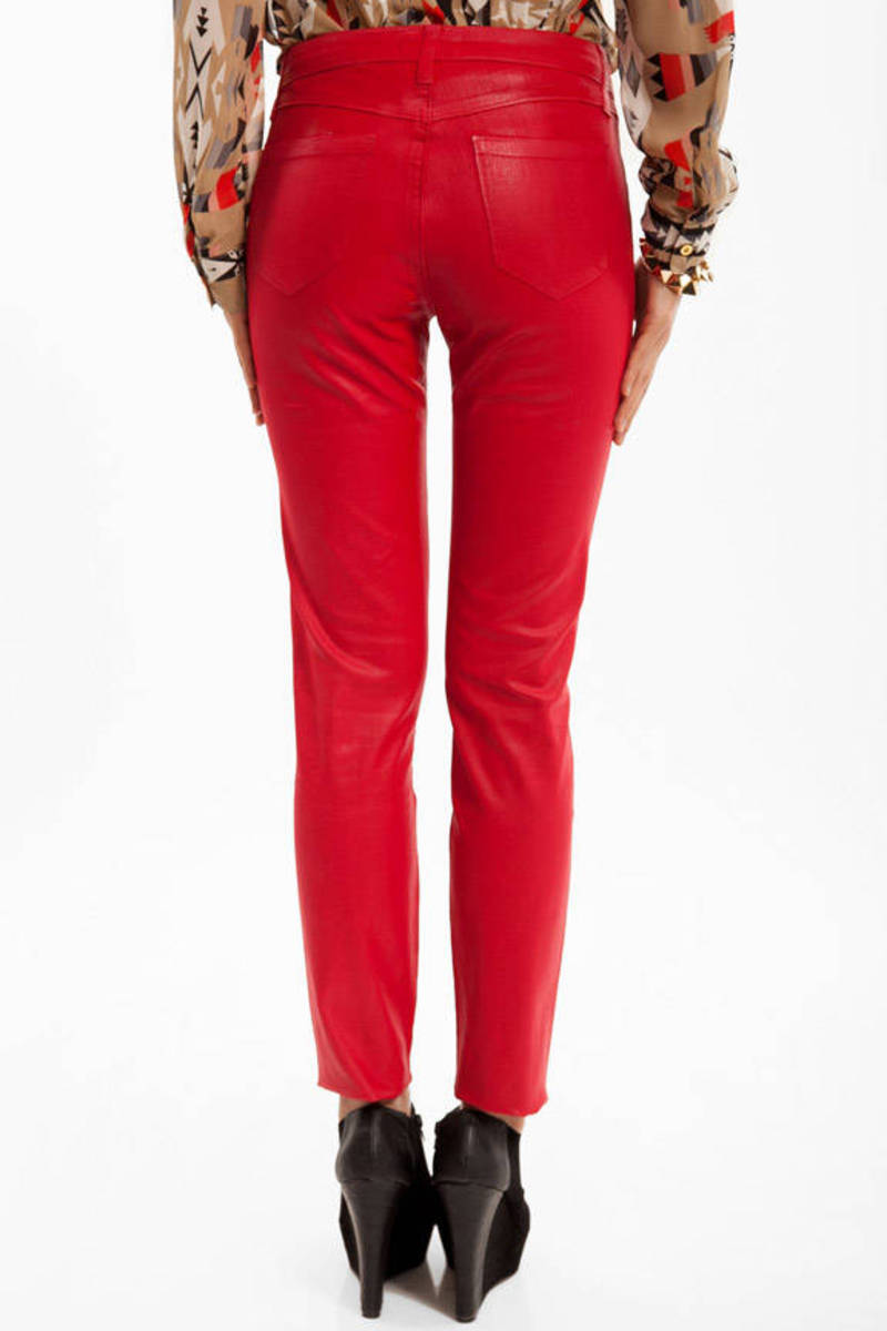 Cheap Red Denim Jeans - Red Jeans - Skinny Jeans - $32.00