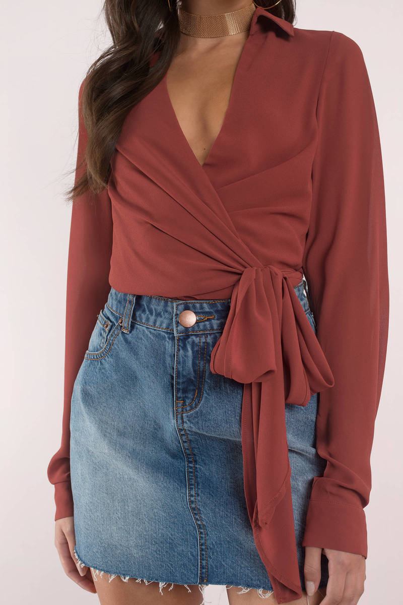 Cute Top - Plunging Neckline - Wrap Top - White Blouse ...