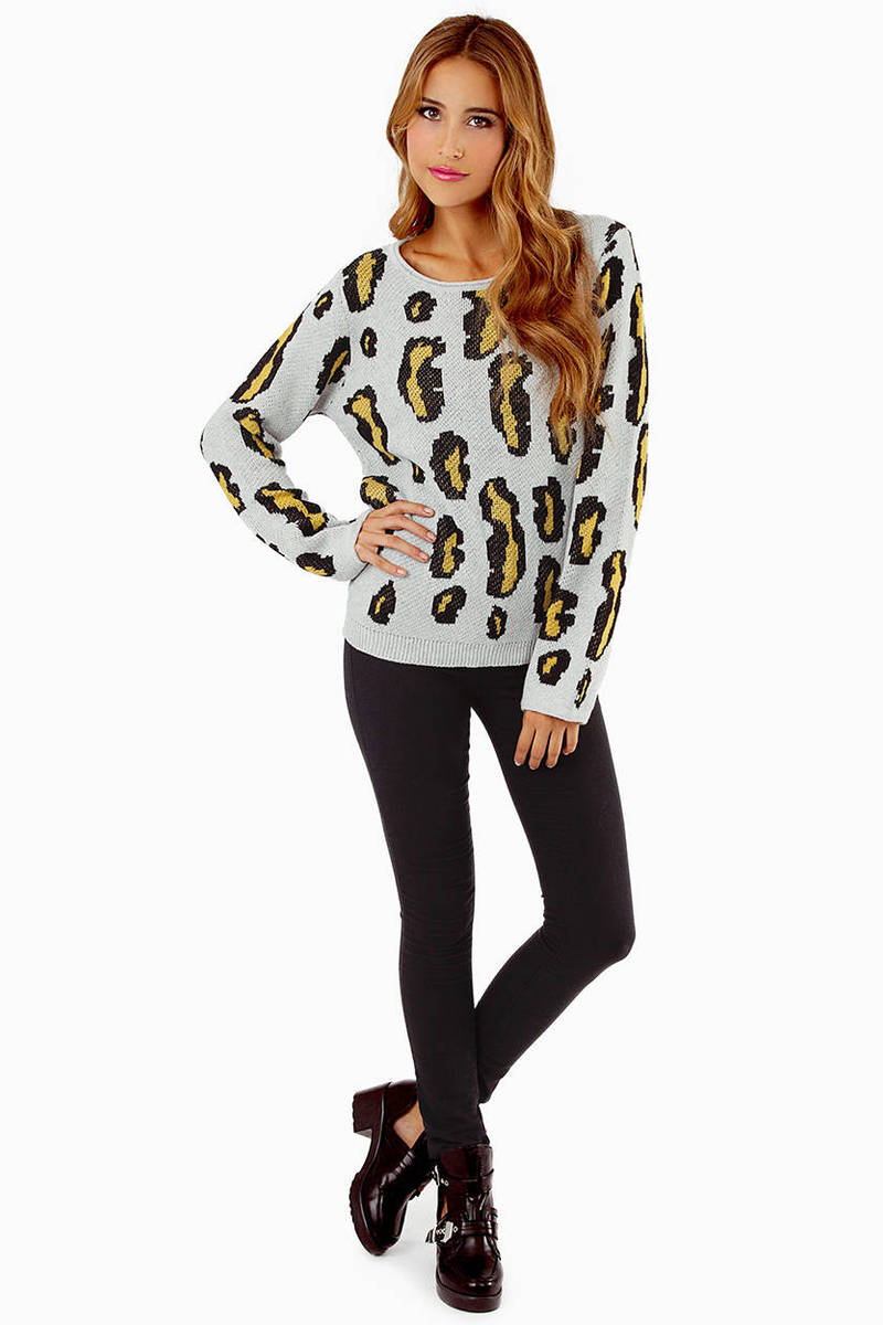Pink Sweater - Leopard Sweater - Animal Print Sweater - $17 | Tobi US