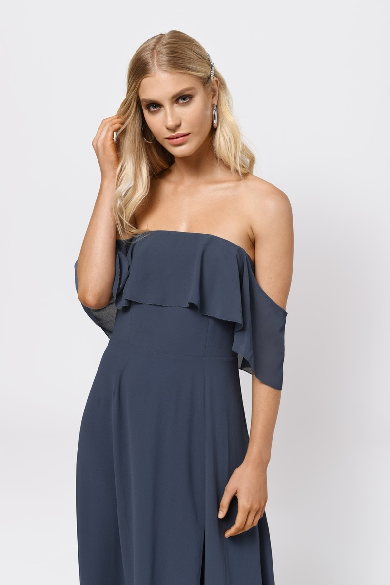 Cute Slate Dress Off Shoulder Dress Front Slit Dress