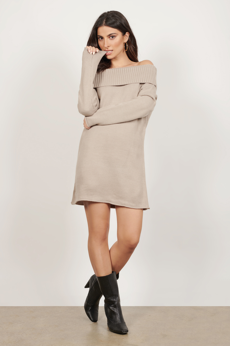 Cute Taupe Dress - Off Shoulder Dress - Long Sleeve Dress - $28 ...