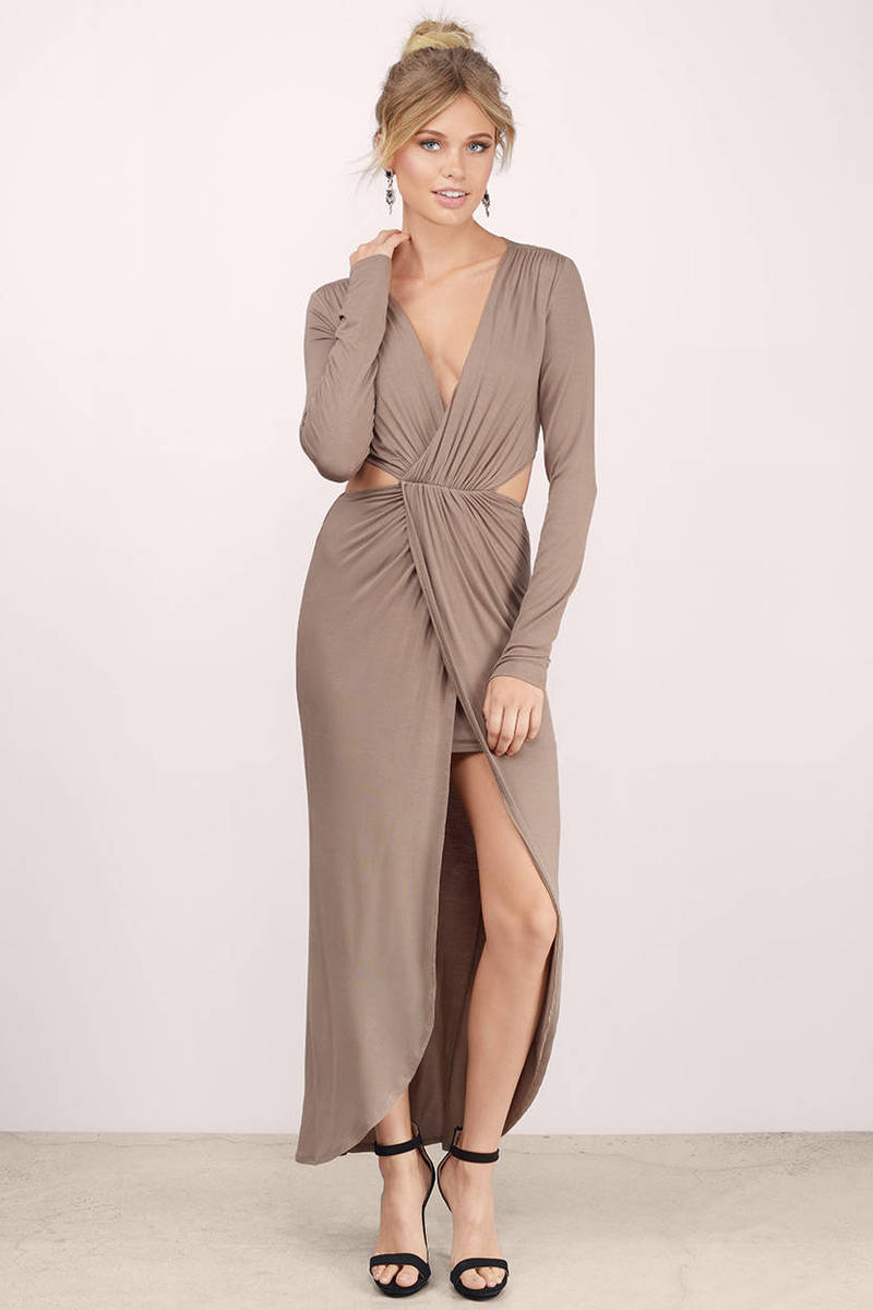 Dress: Taupe Maxi Dress - Taupe Dress - V Neck Dress - $92