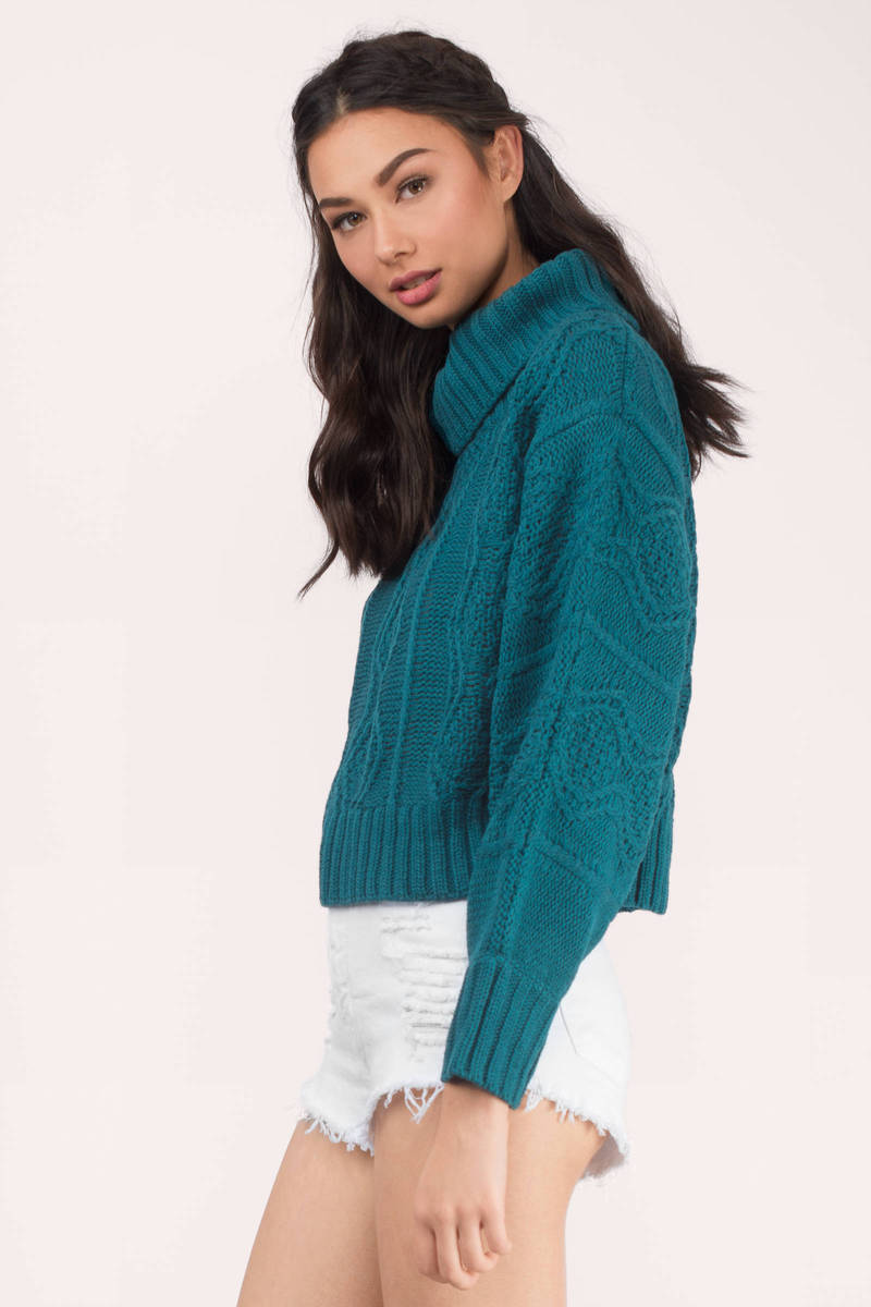 Teal Sweater - Blue Sweater - Cable Knit Sweater - Teal Top - AU ...