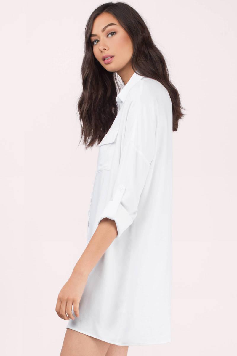 Cheap White Dress - Button Up Dress - Long Dress Shirt - Day Dress ...