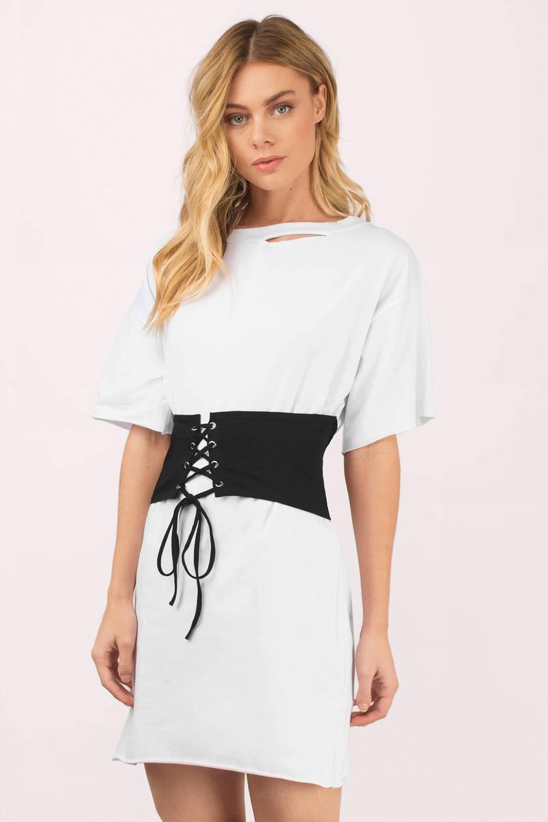 keep me white black waistbelt t shirt dress 18 tobi us