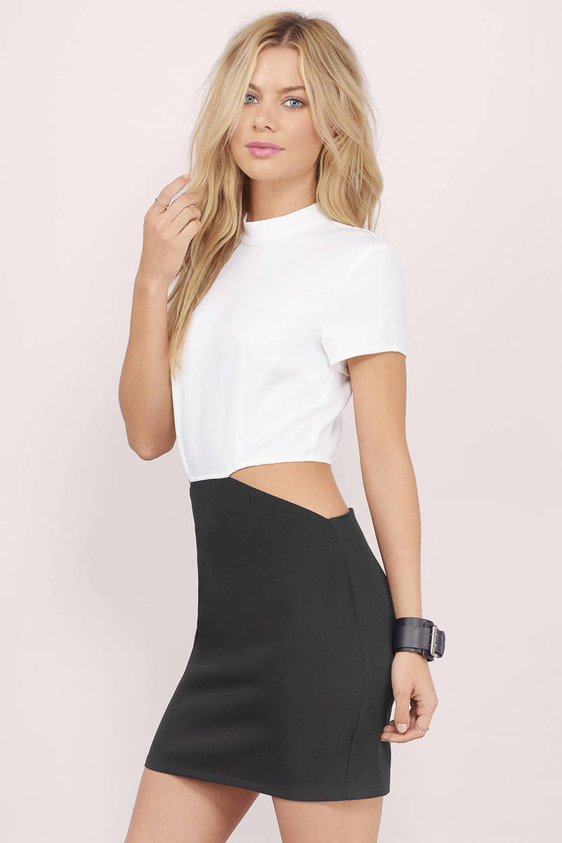 Black and white bodycon dress up tops