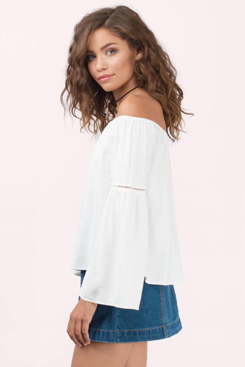 Cute White Shirt - White Shirt - Off Shoulder Shirt - White Top ...