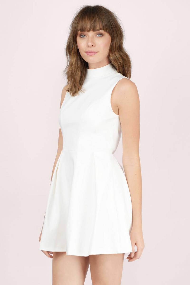 cute white skater dress mock neck dress skater dress