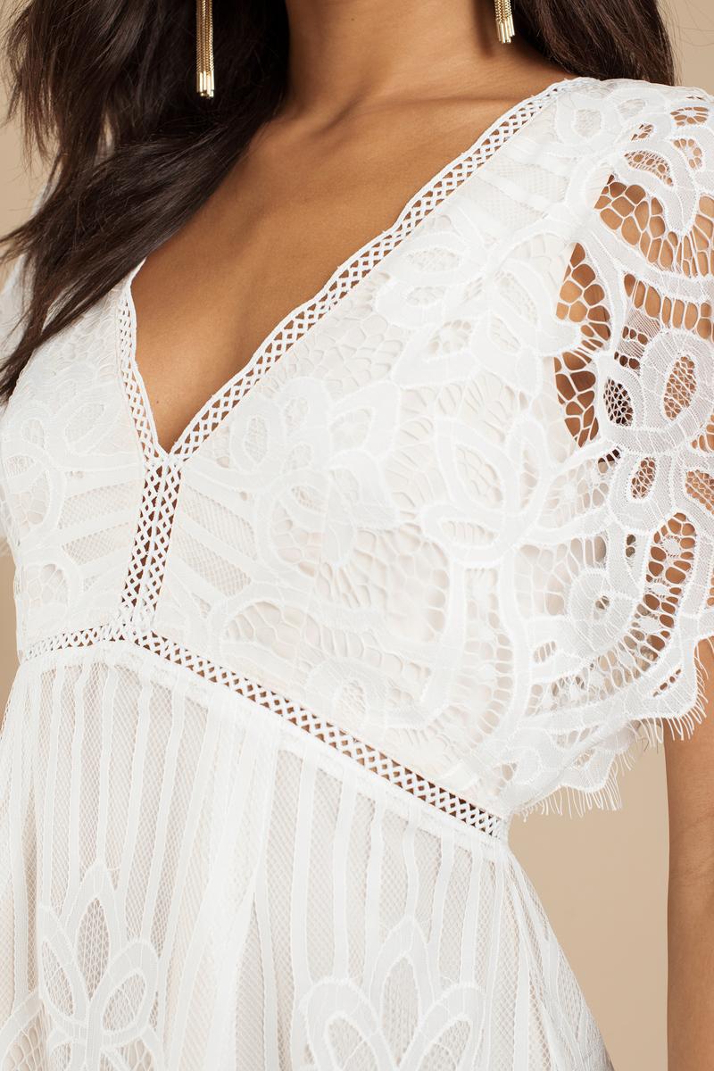 white skater dress lace dress white dress tobi