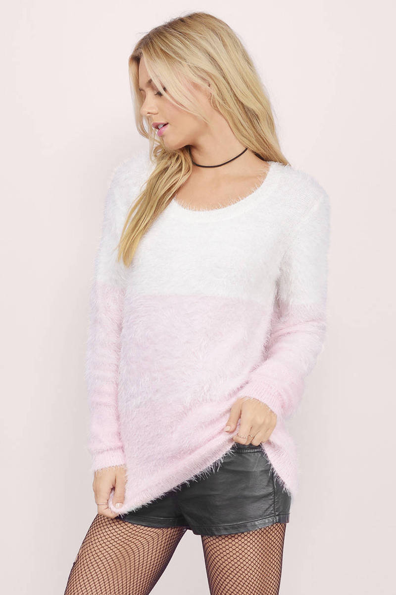 White & Cobalt Sweater - White Sweater - Long Sleeve Sweater - $16.00