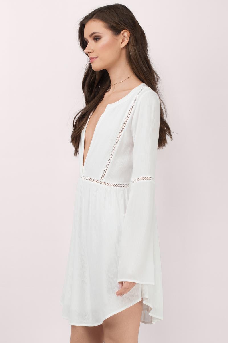 White Shift Dress - Plunging Dress - White Kaftan Dress ...