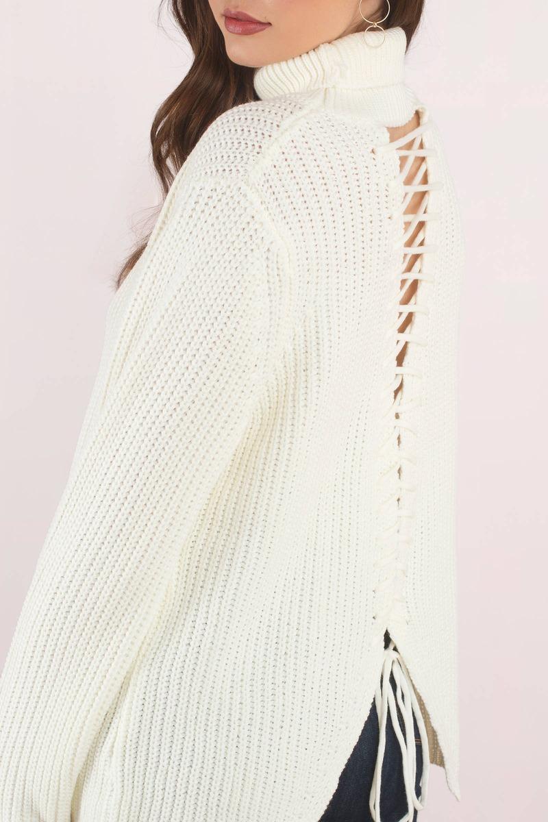 Turn Around White Cutout Turtleneck Sweater - $42 | Tobi US