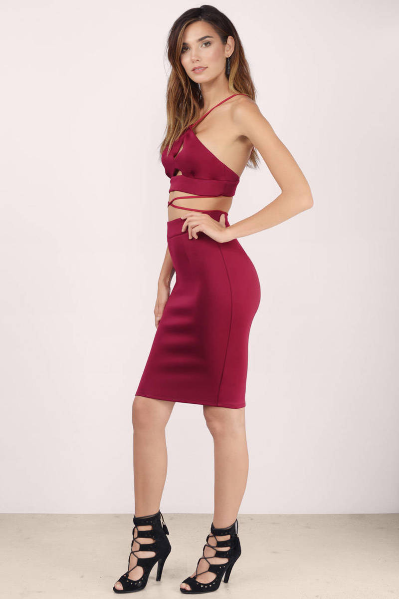 Cheap Wine Skirt - Midi Skirt - Pencil Skirt - Wine Skirt ...
