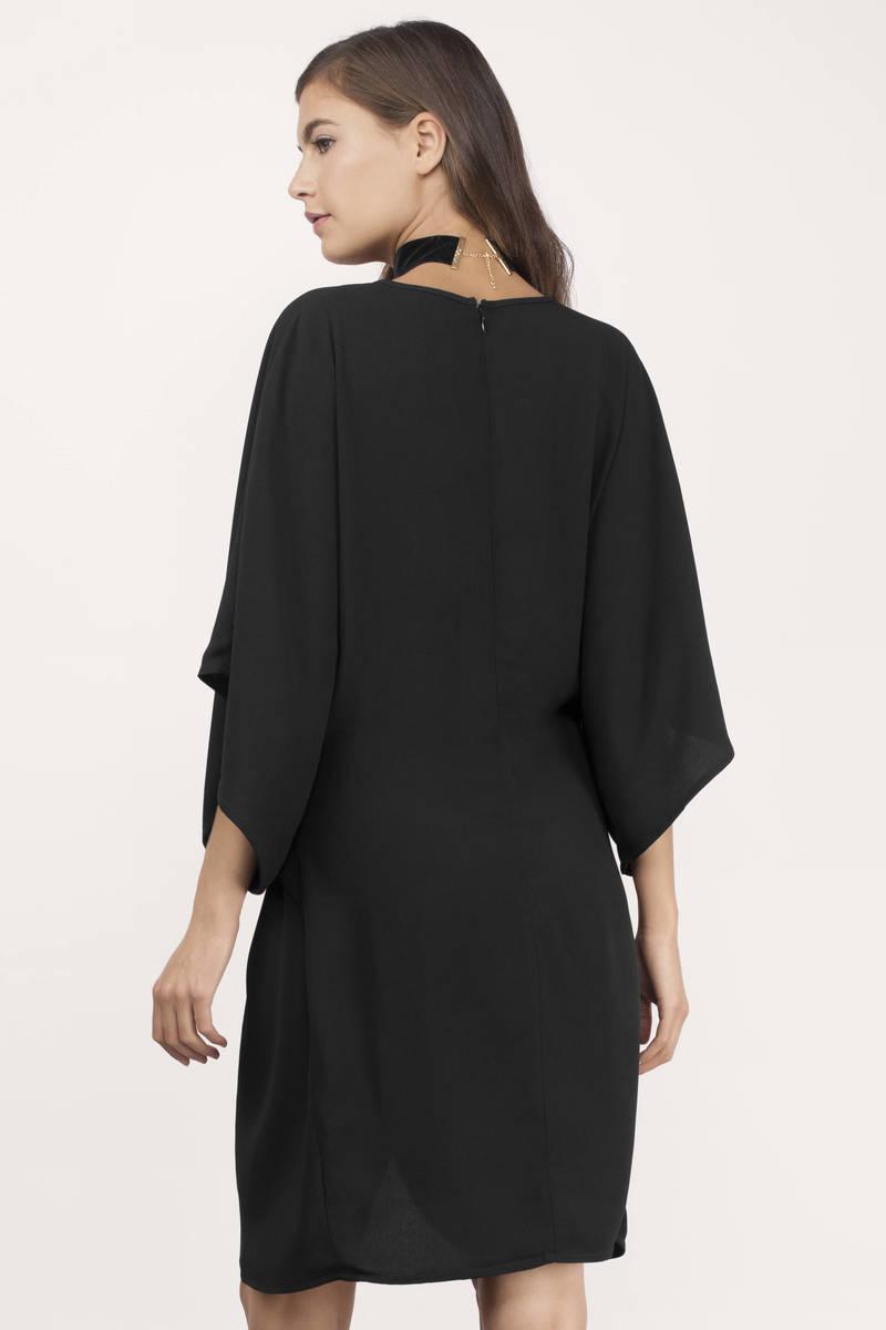 Trendy Black Wrap Dress - Front Knot Dress - $30.00