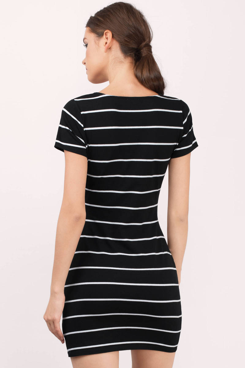 Black t shirt with white stripes -  Emili Black And White Striped T Shirt Dress