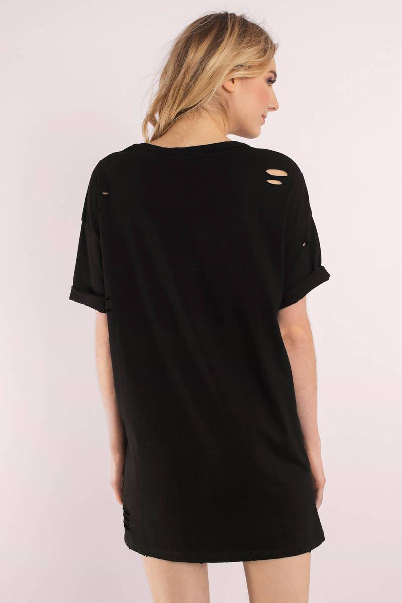 Black Dress - Distress Dress - Black Quarter Sleeve Dress - Day ...