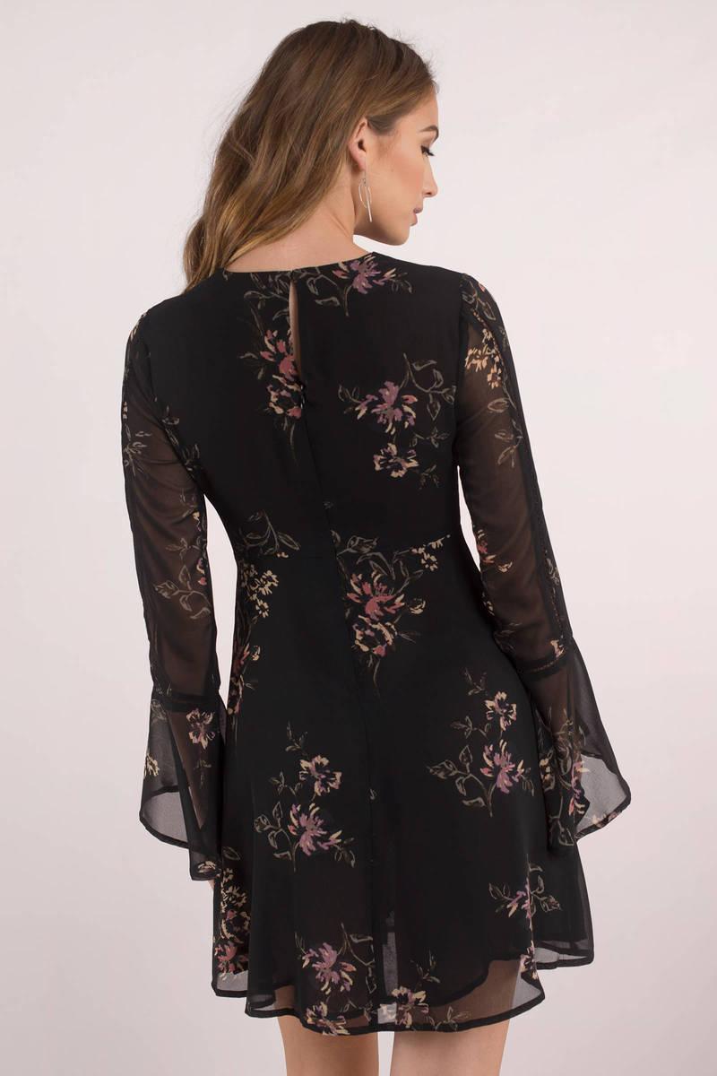 Astr Crystal Black Long Sleeve Dress