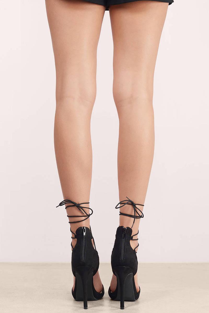 Evelyn Black Ankle Lace Up Heel - $66.00 | Tobi