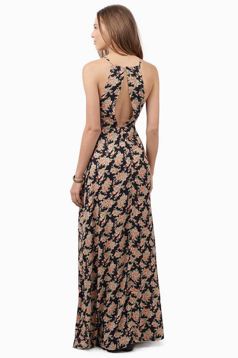 Trendy Navy Floral Maxi Dress Floral Print Dress 1100