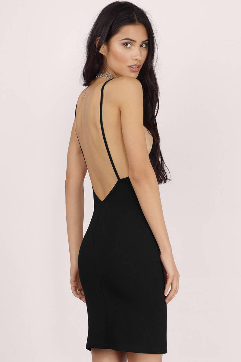 Sexy Black Bodycon Dress - Low Back Dress - Bodycon Dress - $40