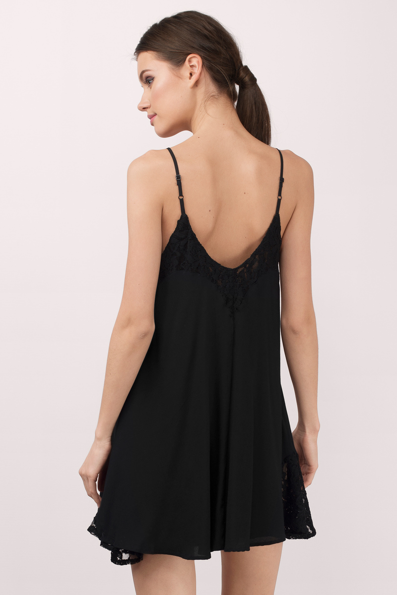 Cute Black Day Dress - Black Dress - Lace Dress - $16.00