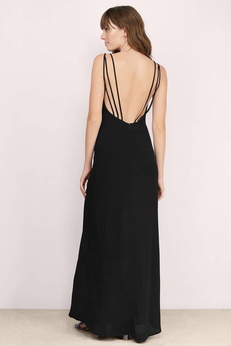Sexy Black Maxi Dress - Black Dress - V Neck Dress - $13.00
