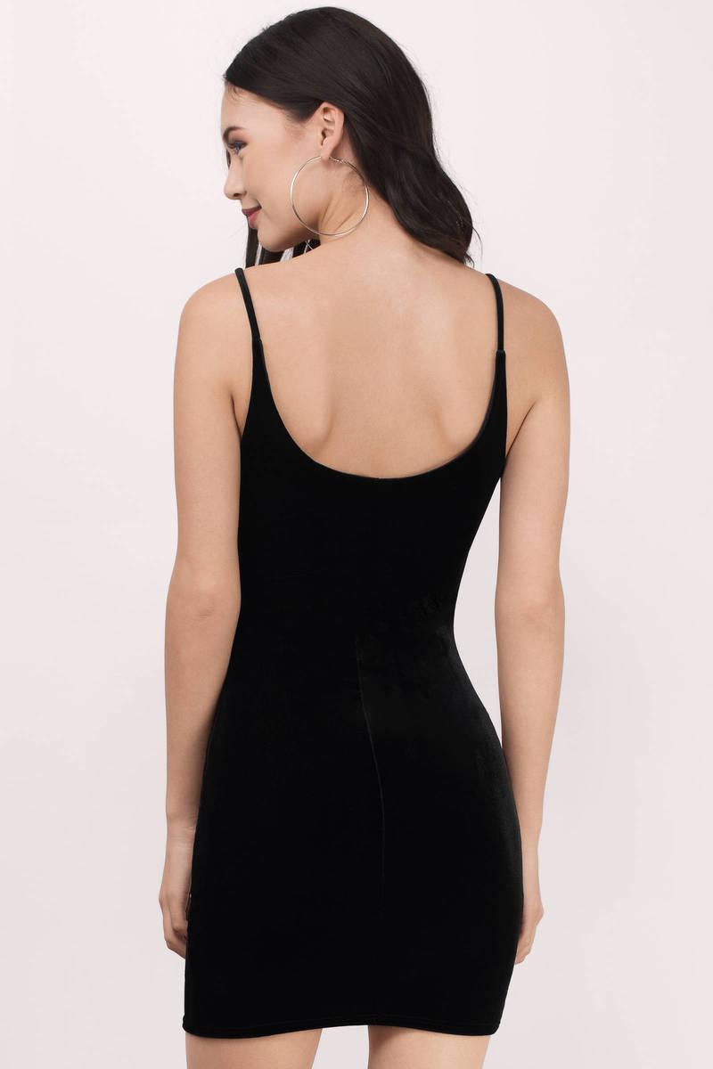 Cute Black Bodycon Dress - Black Dress - Velvet Dress - $54.00