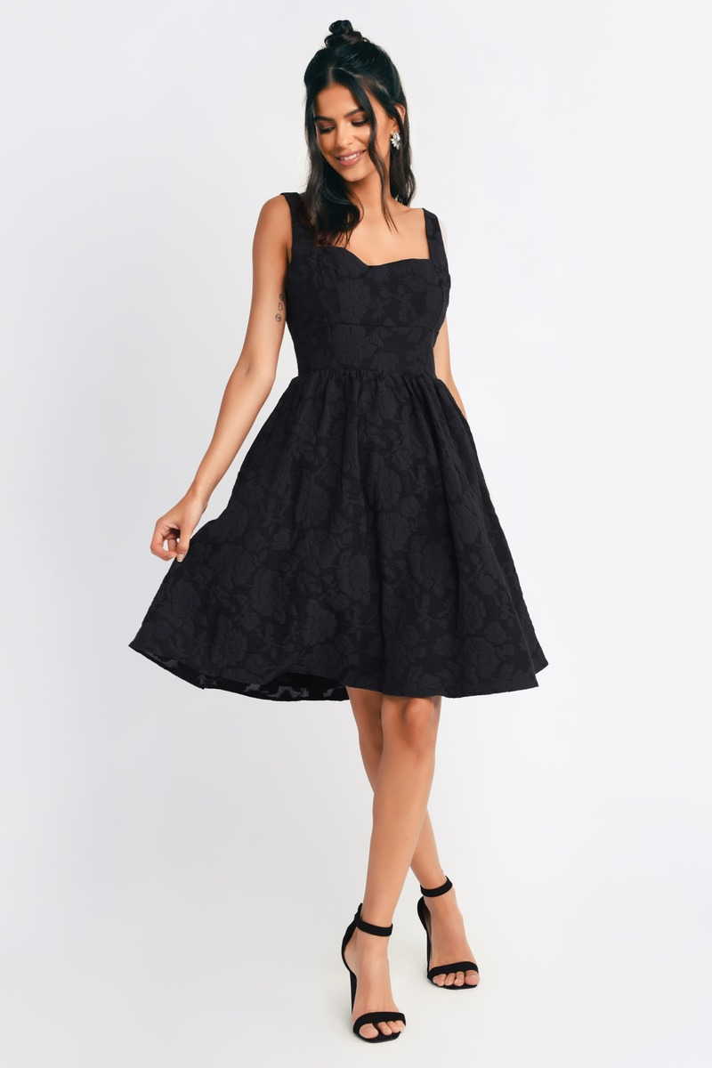Black dress skater -  Meadow Black Floral Skater Dress