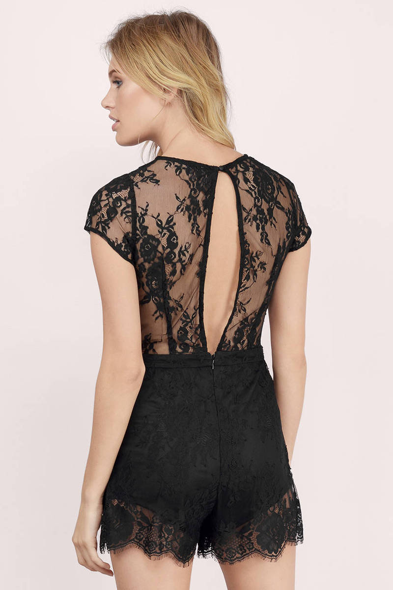 Black dress romper -  Midnight Dream Black Lace Solid Romper