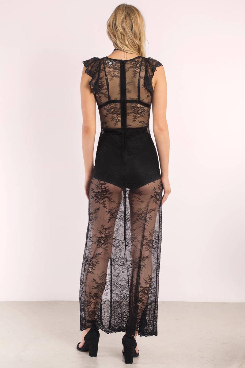 Trendy Black Dress - Lace Dress - Floral Slip Dress - Black Maxi ...