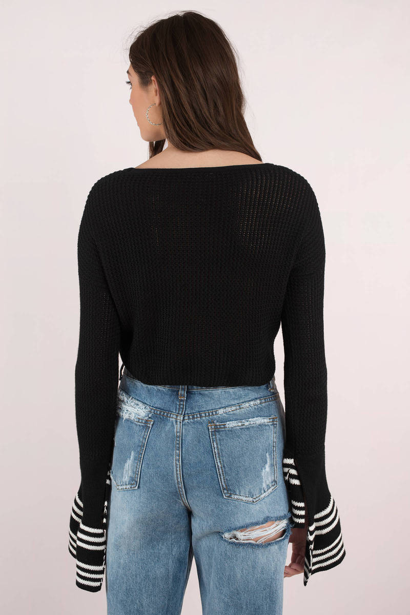 Stripe To Stripe Black Cropped Sweater - $37 | Tobi US