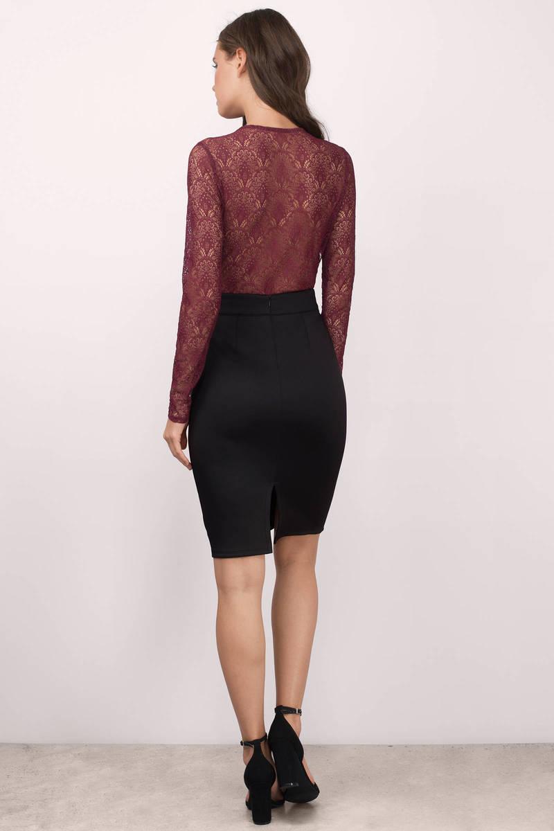 Cheap Wine Skirt - Midi Skirt - Pencil Skirt