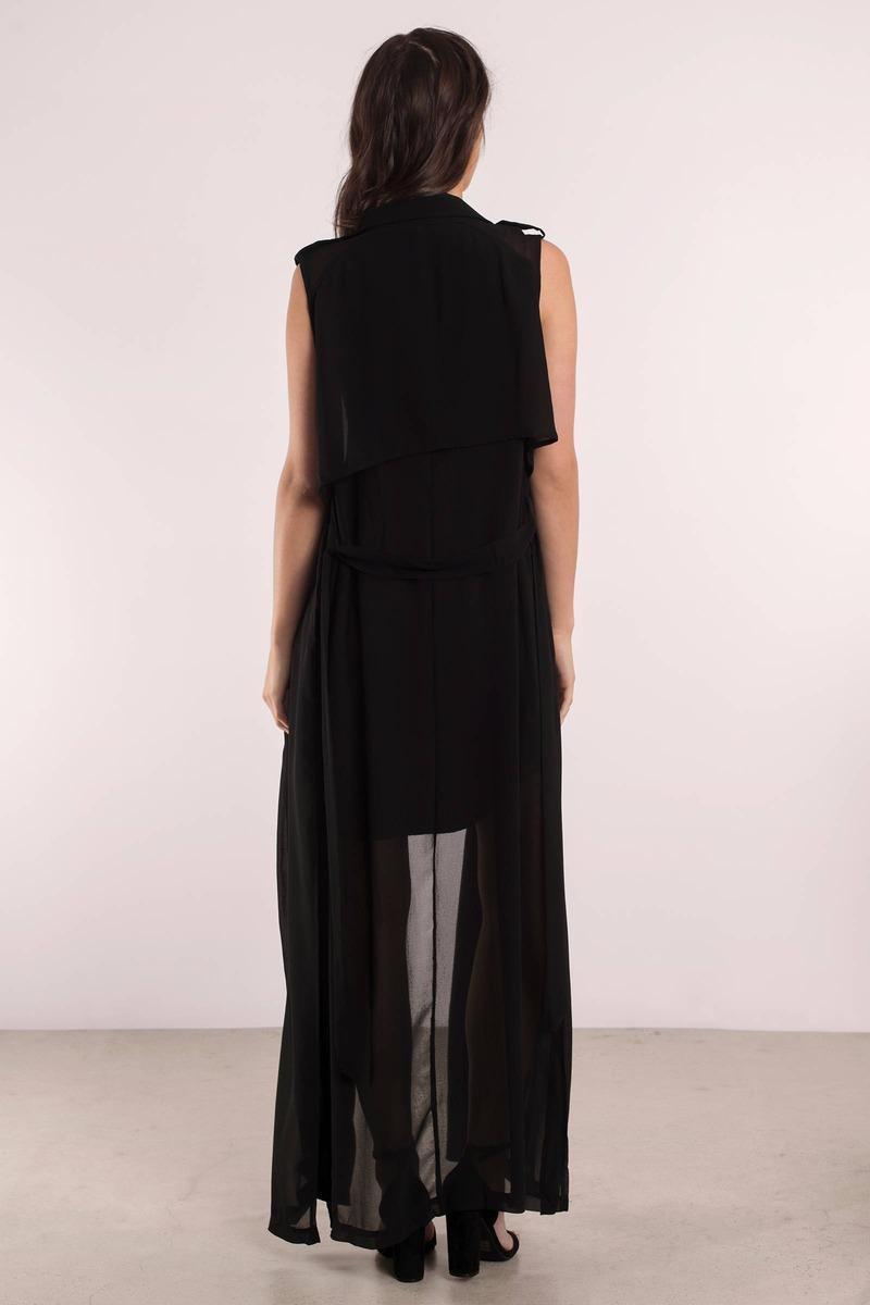 Black Outerwear - Long Sleeveless Vest - Black Long Vest - $68