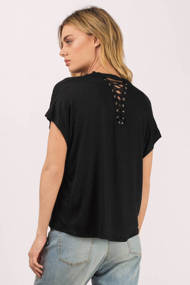 Black t shirt with lace - The