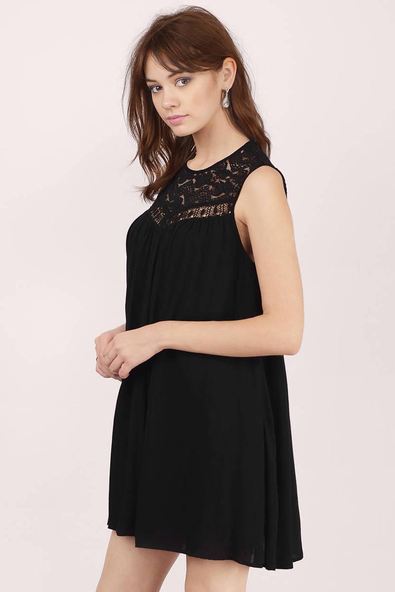 Cheap Black Skater Dress - Boho Lace Dress - $15.00