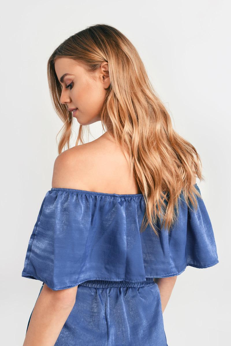 Kirra Blue Off Shoulder Crop Top - AU$ 60 | Tobi