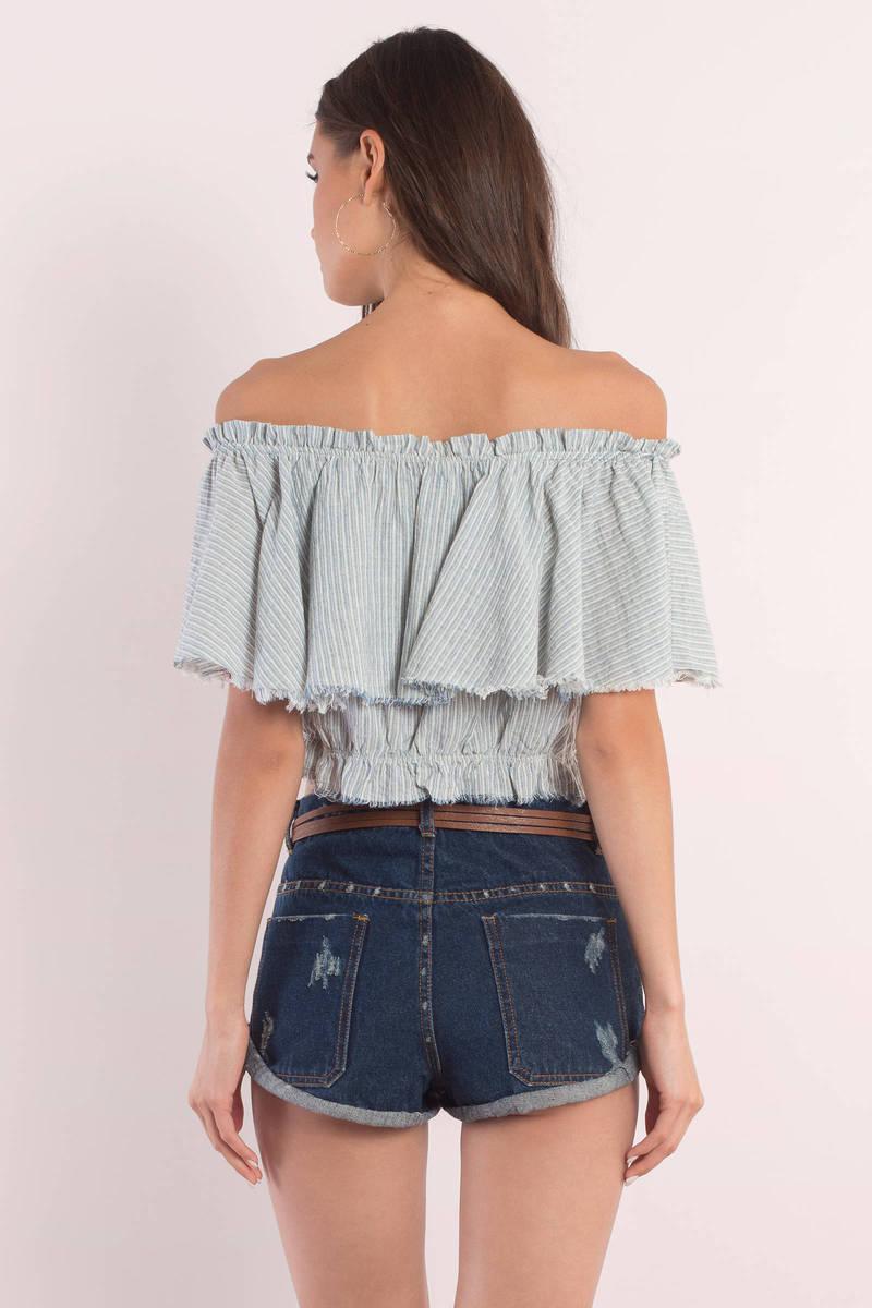 Cute Blue & White Crop Top - Off Shoulder Top - Blue Top - $60.00