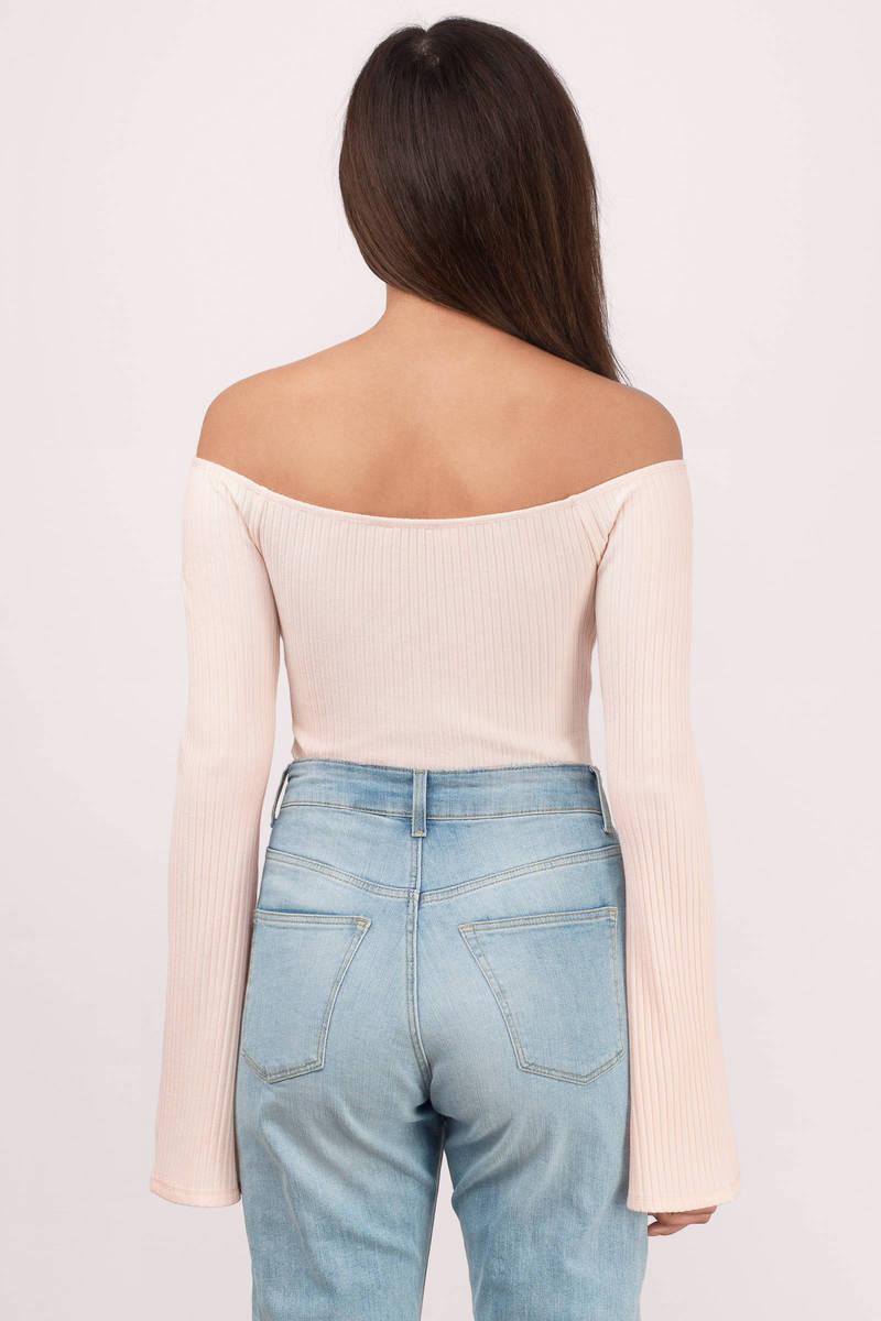 Cute Blush Bodysuit - Bell Sleeve Bodysuit - Blush Bodysuit - $54.00
